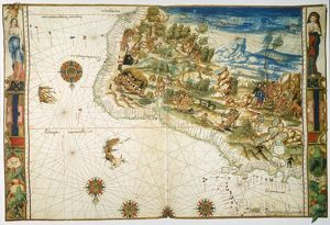 BRAZIL: MAP AND NATIVE INDIANS. Map of Brazil from the Vallard Atlas, c1547; the map