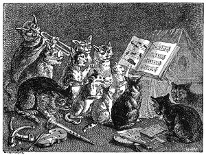 cats/breughel concert cats line engraving 19th century