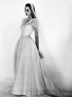 BRIDAL GOWN, 1947. Model wearing a Mainbocher bridal gown. Photographed by Louise Dahl-Wolfe