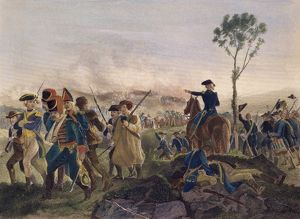 Brigadier General John Stark directing the victorious American forces at the Battle of Bennington