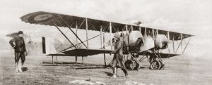 A British biplane equipped with a radio transmitter, at an airfield in France during World War I