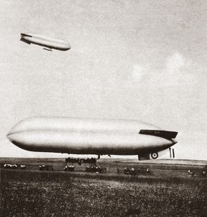 The British C-2 (in flight) and C-9 (on ground) airships, photographed during World War I