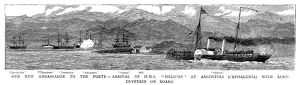 BRITISH FLEET, 1881. The steamship HMS Helicon (right), with Lord Dufferin, the
