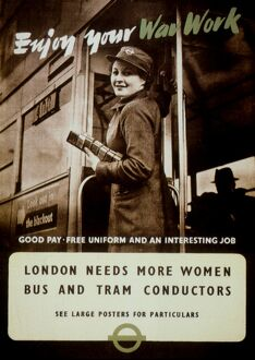 British recruitment poster, 1942, for women bus and tram conductors to replace men