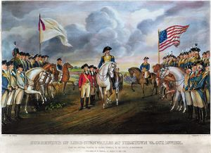 The British surrender at Yorktown, Virginia, on 19 October 1781. Lithograph, 1852