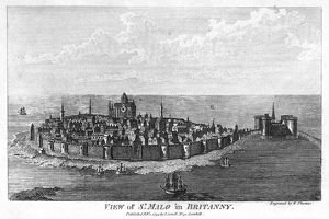 BRITTANY: SAINT-MALO, 1794. View of Saint-Malo, Brittany, France. Line engraving