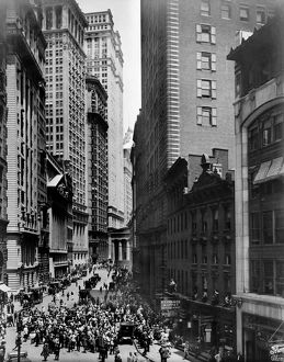 finance commerce/broad street c1916 view broad street new york
