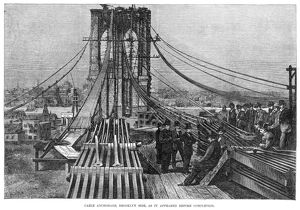 BROOKLYN BRIDGE, 1883. Cable anchorage, Brookln side, as it appeared before completion
