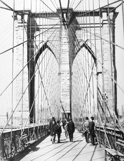 BROOKLYN BRIDGE, 1893. View of the Manhattan tower of the Brooklyn Bridge, from the