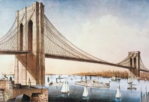 BROOKLYN BRIDGE, NYC, 1881. The Great East River Suspension (Brooklyn) Bridge: lithograph