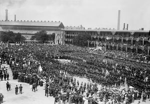 BROOKLYN NAVY YARD: MASS. Crowd attending an open-air military mass at Brooklyn