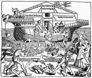 BUILDING OF NOAH'S ARK. Woodcut from the Nuremberg Chronicle, 1493