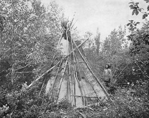 BURIAL TIPI, c1890. A tipi over the grave of a Crow chief's wife. Photograph, c1890