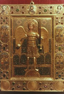 BYZANTINE ART: ST. MICHAEL. Gold and enamel jewel-studded icon of St. Michael.