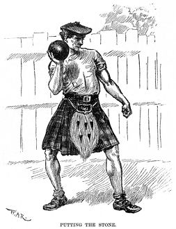 CALEDONIAN GAMES, 1890. An athlete 'putting the stone' at the International