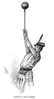 CALEDONIAN GAMES, 1890. An athlete 'throwing the hammer,' at the International