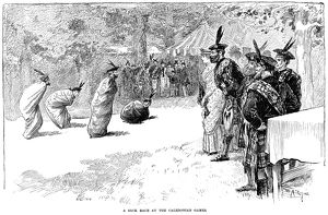 CALEDONIAN GAMES, 1890. A sack race at the International Caledonian Games. Engraving