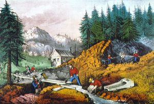 CALIFORNIA: GOLD MINING. Lithograph by Currier & Ives, 1871.