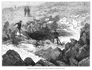 CALIFORNIA: MODOC WAR, 1873. U.S. Army soldiers discovering the entrance to the