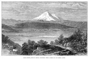 CALIFORNIA: MOUNT SHASTA. Mount Shasta, in Siskiyou County, California. Wood engraving