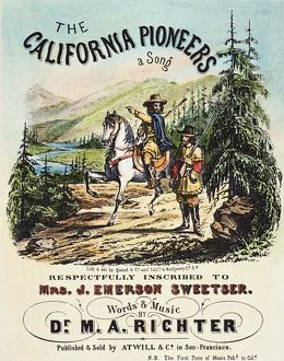 CALIFORNIA PIONEERS, c1850. Lithograph sheet music cover, c1850, for 'The California