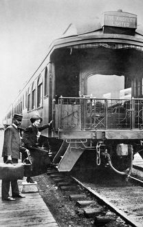 CALIFORNIA: RAILROAD. Boarding the Los Angeles Limited at an unidentified stop in California