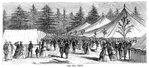 CAMP MEETING, 1869. The big tent at the national Methodist camp meeting, 6-15 July 1869