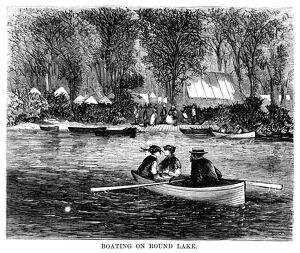 CAMP MEETING, 1869. Boating on Round Lake during the national Methodist camp meeting