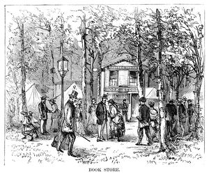 CAMP MEETING, 1869. Book store at the national Methodist camp meeting, 6-15 July 1869