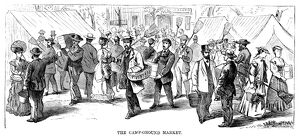 CAMP MEETING, 1869. The campground market at the national Methodist camp meeting