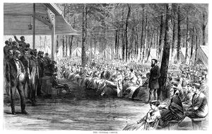 CAMP MEETING, 1869. The central circle at the national Methodist camp meeting, 6-15