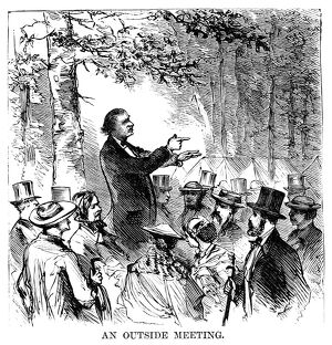 CAMP MEETING, 1869. An outdoor preacher at the national Methodist camp meeting
