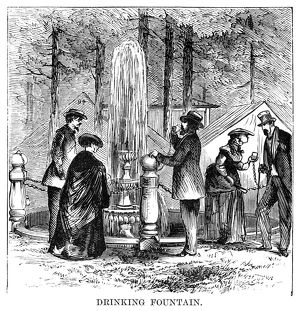 CAMP MEETING, 1869. Public drinking fountain at the national Methodist camp meeting