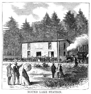 CAMP MEETING, 1869. Round Lake Station at Round Lake, New York, the site of the
