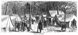 CAMP MEETING, 1869. Wesley Avenue at the campground at the national Methodist camp meeting