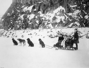 CANADA: DOG SLED, c1910. Girls on a dog sled in Canada. Photograph, c1910