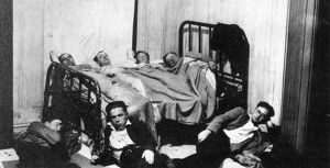 CANADA: GREAT DEPRESSION, 1930. Seven men share one bedroom during the Great Depression in Canada