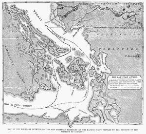CANADA: MAP, 1872. /nMap of the boundary between British and American territory on the Pacific coast, settled by the decision of the Emperor of Germany by arbitration in 1872, which gave the disputed San Juan Island to the United States. Wood engraving, American, 1872.