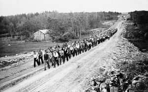 CANADA: UNEMPLOYED, 1935. March of unemployed men from relief camps in western Canada to Ottawa