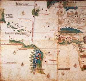 CANTINO WORLD MAP, 1502. /nWestern half of the Cantino map of the world