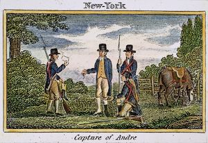 The capture of Major John Andre in 1780. Wood engraving, American, 1827.