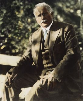 CARL G. JUNG (1875-1961). Swiss psychologist and psychiatrist. Oil over a photograph, n.d.