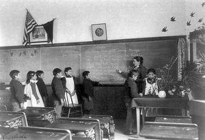 CARLISLE SCHOOL, c1901. Elementary school class at the Carlisle Indian School in Carlisle