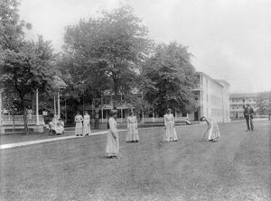 CARLISLE SCHOOL, c1901. Female students playing croquet at the Carlisle Indian School