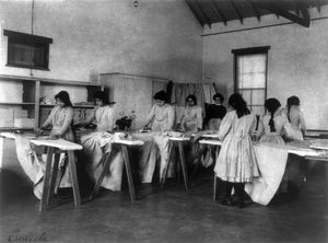 CARLISLE SCHOOL, c1901. Ironing class at the Carlisle Indian School in Carlisle