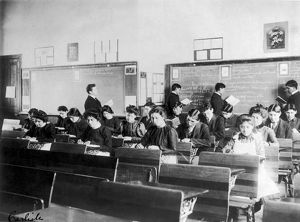 CARLISLE SCHOOL, c1902. Classroom at the Carlisle, Pennsylvania Indian School, Carlisle
