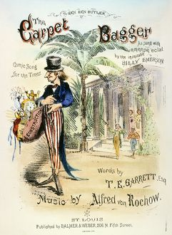 THE CARPET BAGGER, c1869. American lithograph song sheet music cover, c1869