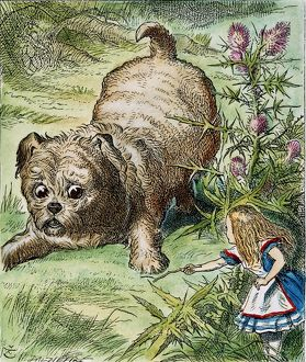 CARROLL: ALICE, 1865. Alice encounters the enormous puppy: after the design by Sir