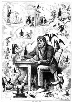CARTOON: ALCOHOLISM, 1874. 'The Bottle Imp.' Cartoon by Frank Bellew, 1874