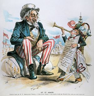 CARTOON: UNCLE SAM, 1893. American cartoon, 1893, depicting an Uncle Sam confident